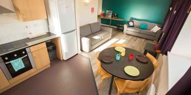 Living area and kitchen in student halls