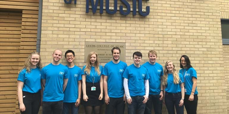 Student ambassadors at a Leeds College of Music Open Day